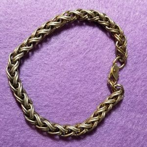 Vintage chunky double wheat link bracelet